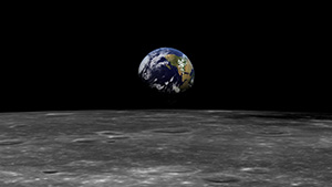A photograph taken from the moon shows Earth in the distance.