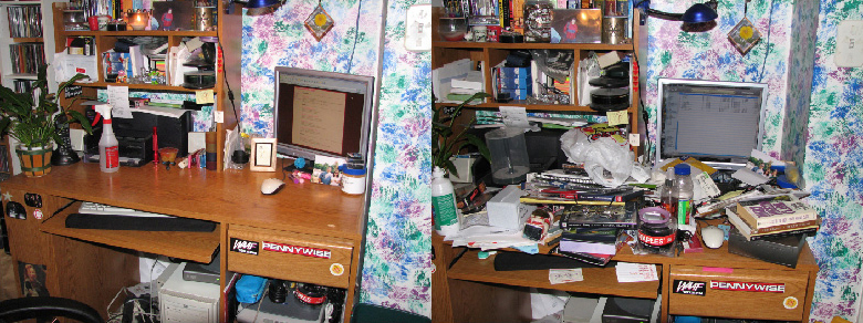 A set of two photos, one showing a neat room and the other showing a messy room.