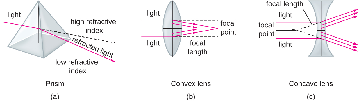 Diagram a (prism) shows a clear pyramid with light entering one surface. The light leaving the other surface is bent and is the refracted light. A dotted line indicates the path the original light beam would have taken had it not bent. The region above the dotted line is labeled high refractive index; the region below the line is labeled low refractive index. Diagram b (convex lens) shows a lens with a bulge in the center. Light enters one either side of the dome and is focused to a point past the lens and in line with the center of the dome. The point at which the light focuses is the focal point; the distance from the focal point to the center of the lens is the focal length. Diagram c (concave lens) shows a lens that curves inward on either side. Light entering this lens is bent outwards, away from the center of the lens's curve. A dotted line shows the linear path backwards for each of the bent light beams. The point at which all the dotted lines meet (which is on the other side of the lens) is the focal point.