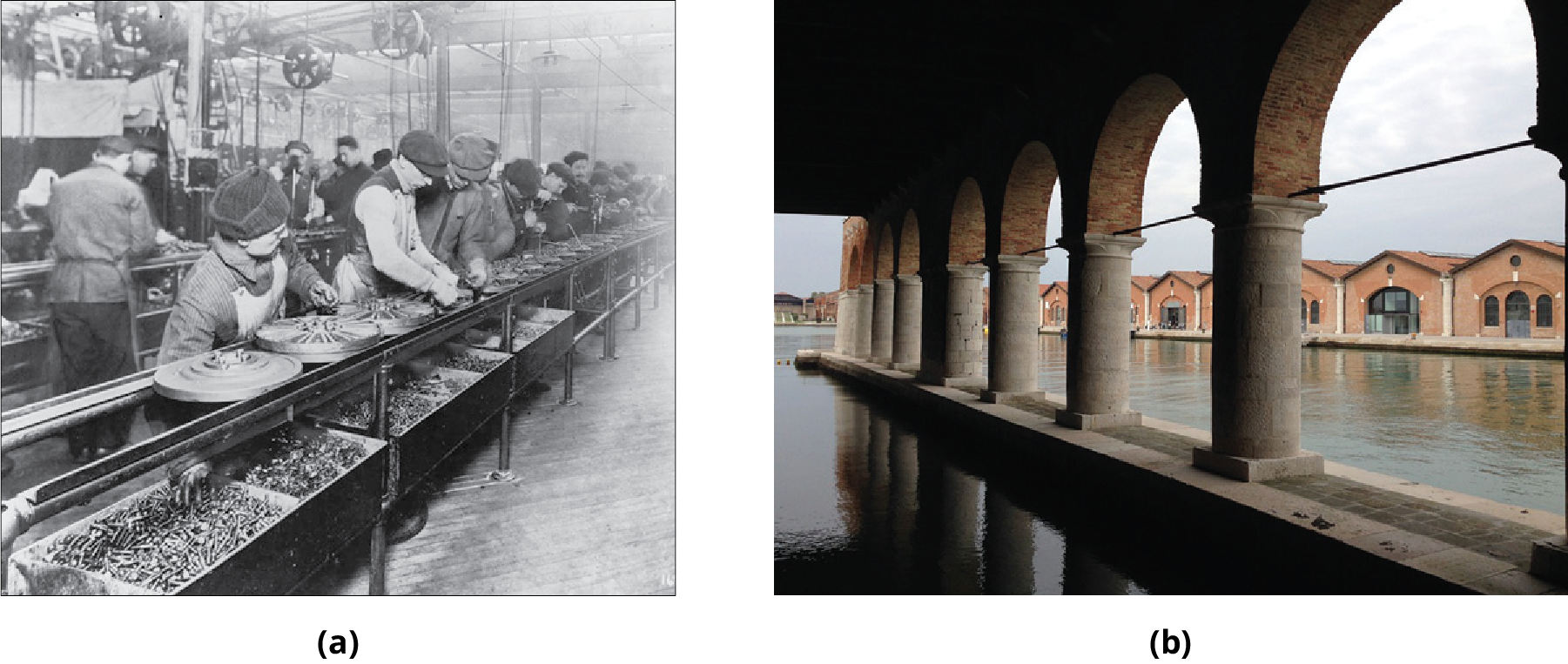 (a) Photo of workers on an assembly line. (b) Photo of the Venetian Arsenal.