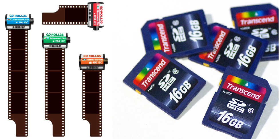 35-mm film and SD cards