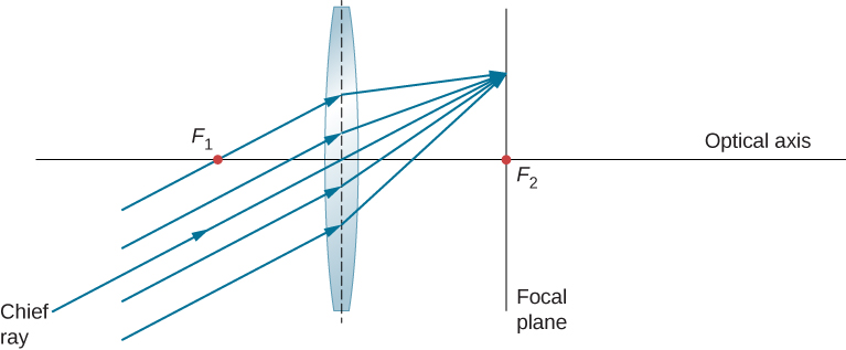 Figure shows rays that are parallel to each other but not to the optical axis, entering a bi-convex lens and converging on the other side at a point on the focal plane. The cross section of the focal plane is shown as a line that is perpendicular to the optical axis and intersects it at the focal point.