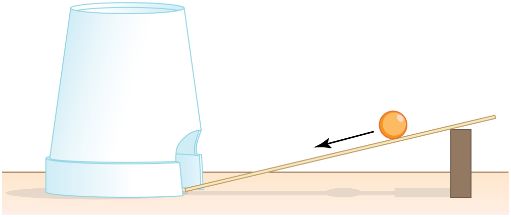 A marble is rolling down a makeshift ramp consisting of a small wooden ruler propped up on one end at about a thirty degree angle. At the bottom of the ramp is a foam drinking cup standing upside-down on its lip. A hole is cut out on one side of the cup so that the marble will roll through the hole when it reaches the bottom of the ramp.