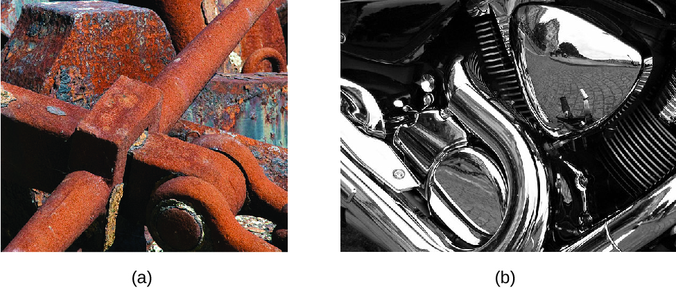 Figure A is a photo of metal machinery that is now mostly covered with reddish orange rust. Figure B shows the silver colored chrome parts of a motorcycle. One of the parts is so shiny that you can see a reflection of the surrounding street and buildings.