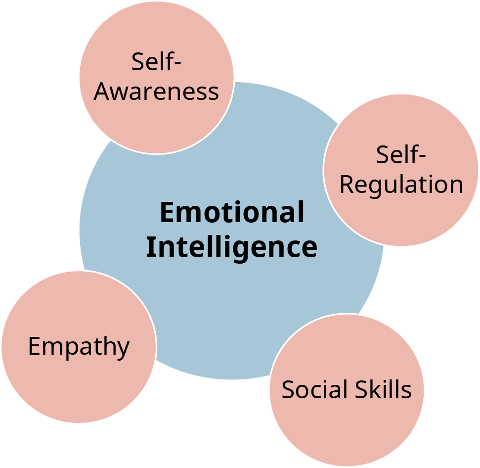 "A diagram shows ""Self-Awareness,"" ""Self-Regulation,"" ""Social Skills,"" and ""Empathy"" as the various components of Emotional Intelligence."