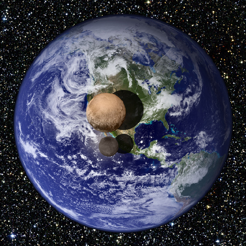An image showing the comparison of the sizes of Pluto, Charon, and Earth. Earth is roughly six times larger than Pluto, and Pluto is roughly three times larger than its moon, Charon.