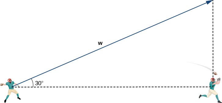 "This figure is the image of two football players with the first player throwing the football to the second player. The distance between the two players is represented with a broken line segment. There is a vector from the first player. The angle between the vector and the broken line segment is 30 degrees. There is a vertical broken line segment from the second player. Also, there is a right triangle formed from the two broken line segments and the vector from the first player is labeled ""w"" and is the hypotenuse."