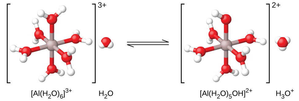 "A reaction is shown using ball and stick models. On the left, inside brackets with a superscript of 3 plus outside to the right is structure labeled ""[ A l ( H subscript 2 O ) subscript 6 ] superscript 3 plus."" Inside the brackets is s central grey atom to which 6 red atoms are bonded in an arrangement that distributes them evenly about the central grey atom. Each red atom has two smaller white atoms attached in a forked or bent arrangement. Outside the brackets to the right is a space-filling model that includes a red central sphere with two smaller white spheres attached in a bent arrangement. Beneath this structure is the label ""H subscript 2 O."" A double sided arrow follows. Another set of brackets follows to the right of the arrows which have a superscript of two plus outside to the right. The structure inside the brackets is similar to that on the left, except a white atom is removed from the structure. The label below is also changed to ""[ A l ( H subscript 2 O ) subscript 5 O H ] superscript 2 plus."" To the right of this structure and outside the brackets is a space filling model with a central red sphere to which 3 smaller white spheres are attached. This structure is labeled ""H subscript 3 O superscript plus."""