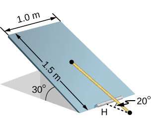 Figure is a schematic drawing of a trapdoor that is 1.0 m by 1.5 m. Door is supported by a single hinge labeled H, and by a light rope tied between the middle of the door and the floor. The door makes a 30 degree angle with the floor and the rope makes a 20 degree angle with the floor.