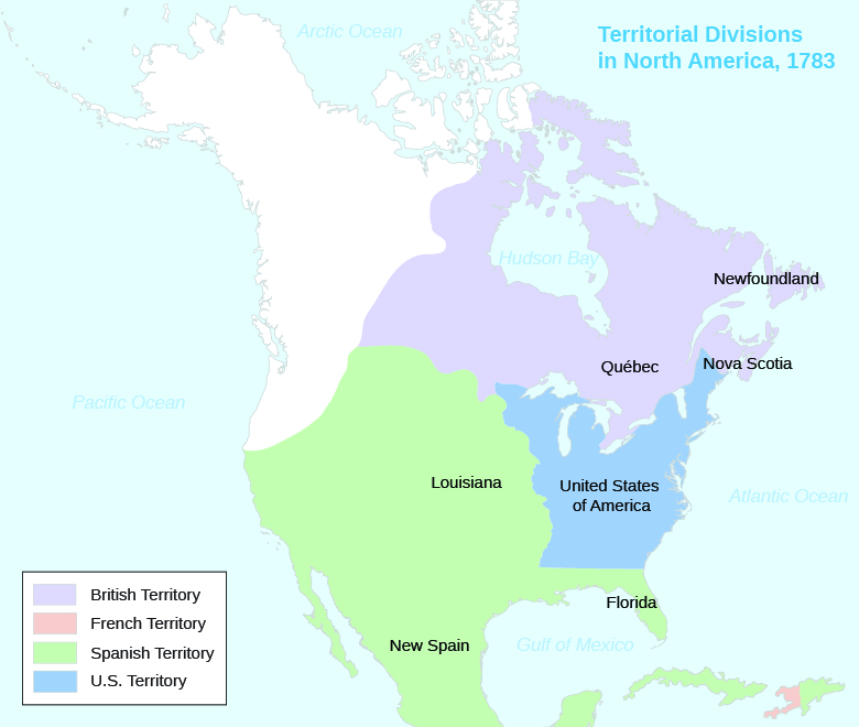 A map shows the territorial divisions in North America in 1783. British, French, Spanish, and U.S. Territory are shaded. Louisiana, Florida, and New Spain are labeled within Spanish Territory, which includes most of the present-day U.S. west of the Mississippi as well as Mexico and Central America. Quebec, Newfoundland, and Nova Scotia are labeled within British Territory, which includes much of present-day Canada. The United States of America is labeled within U.S. Territory, which is bordered on the west by the Mississippi River. French Territory is limited to present-day Haiti.