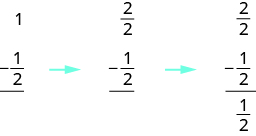 On the left, it says 1 minus 1 half. There is an arrow pointing to 2 over 2 minus 1 over 2. There is another arrow pointing to 2 over 2 minus 1 over 2 equals 1 over 2.