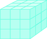 A cube is shown, comprised of smaller cubes. Each side of the cube has 3 smaller cubes across, for a total of 27 smaller cubes.