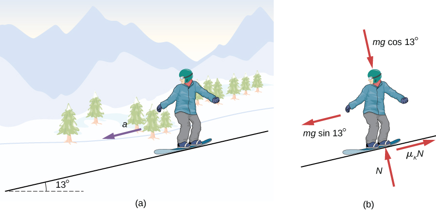 Figure (a) shows an illustration of a snowboarder on a slope inclined at 13 degrees above the horizontal. An arrow indicates an acceleration, a, downslope. Figure (b) shows the free body diagram of the snowboarder. The forces are  m g cosine 13 degrees into the slope, perpendicular to the surface, N, out of the slope, perpendicular to the surface, m g sine 13 degrees downslope parallel to the surface and mu sub k times N, upslope parallel to the surface.