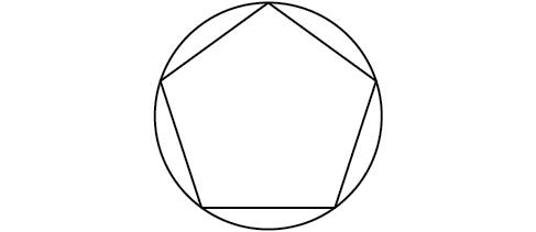 A pentagon inscribed in a circle.