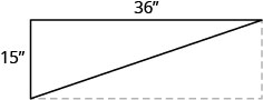The figure illustrates rectangular shelving whose width of 36 inch and height of 15 inches forms a right triangle with a diagonal brace.