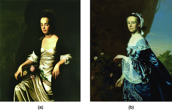 Painting (a) is a portrait of Judith Sargent Murray. Painting (b) is a portrait of Mercy Otis Warren. Both women wear silk dresses and pose with flowers.