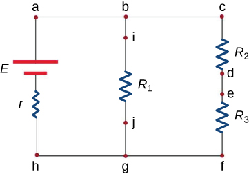 A circuit is drawn with points a, b, and c across the top from left to right and points h, g, and f across the bottom from left to right. Segment ah from top to bottom has a battery with voltage E and a resistor with resistance r. Segment bg from top to bottom has point i, a resistor marked R1, and point j. Segment cf from top to bottom has resistor with resistance R2, point d, point e, and a resistor with resistance R3.