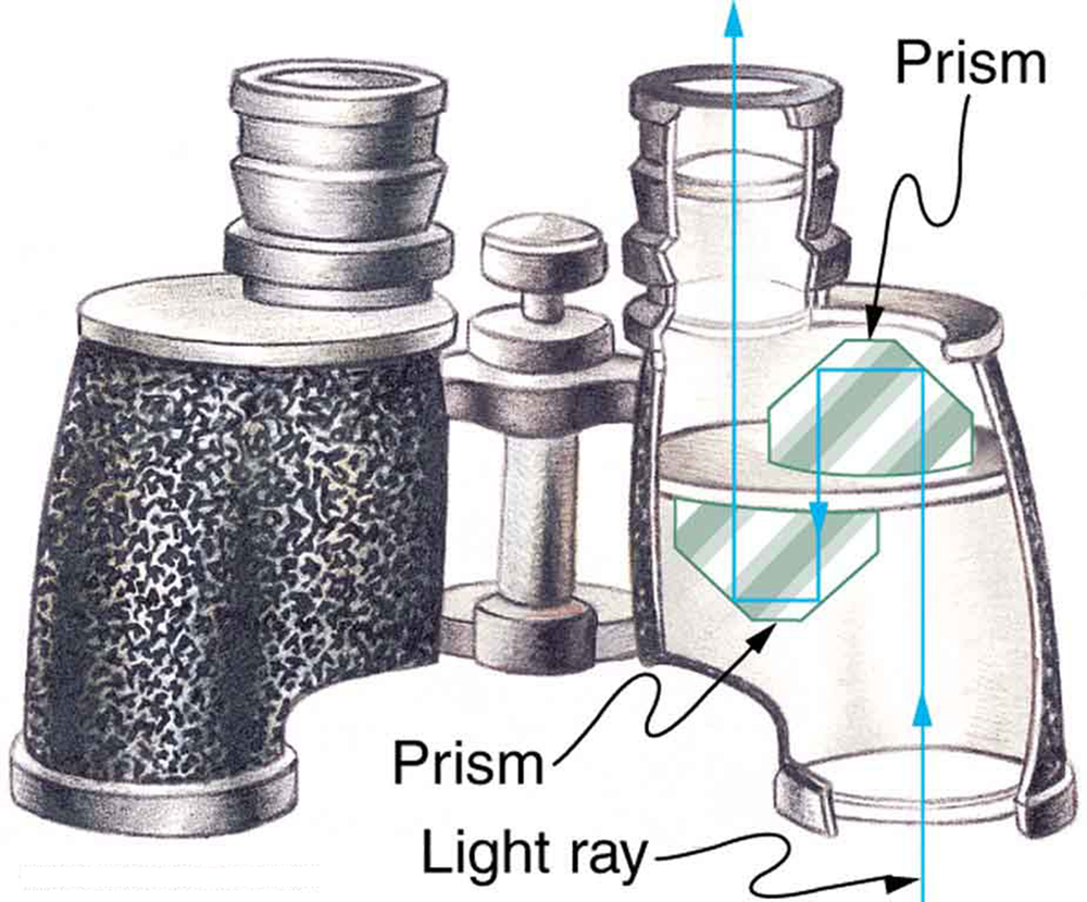 The picture shows binoculars with prisms inside. The light through one of the object lenses enters through the first prism and suffers total internal reflection and then falls on the second prism and gets total internally reflected and emerges out through one of the eyepiece lenses.
