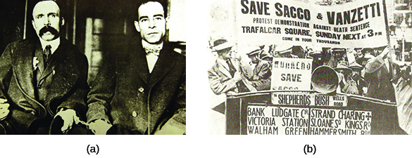 "Photograph (a) shows Bartolomeo Vanzetti and Nicola Sacco sitting beside one another in handcuffs. Photograph (b) shows a group of men protesting in the street. Several hold a large sign that reads ""Save Sacco and Vanzetti / Protest Demonstration against Death Sentence / Trafalgar Square, Sunday Next at 3pm / Come in Your Thousands."""