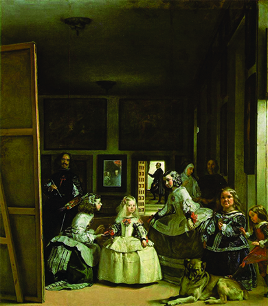 A painting depicts King Philip IV and Queen Mariana's young daughter surrounded by her entourage. Diego Velázquez stands to one side, painting the scene.