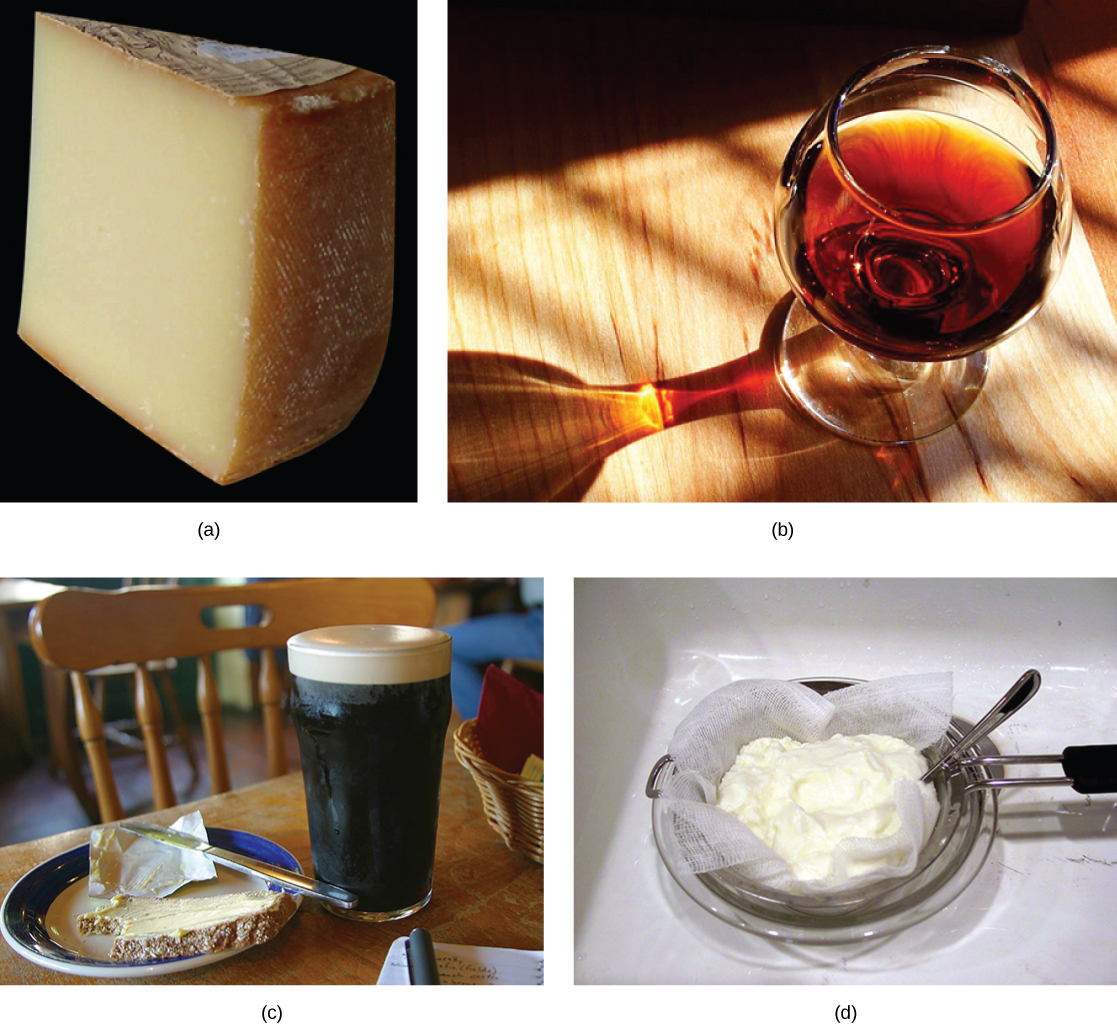 The photo collage shows cheese, wine, beer and bread, and yogurt.
