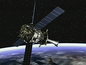 Photo shows satellite in space.