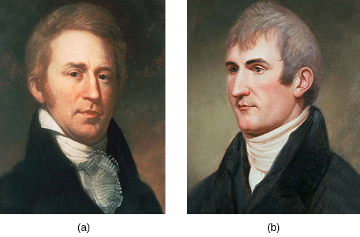 Two paintings depict William Clark (a) and Meriwether Lewis (b).