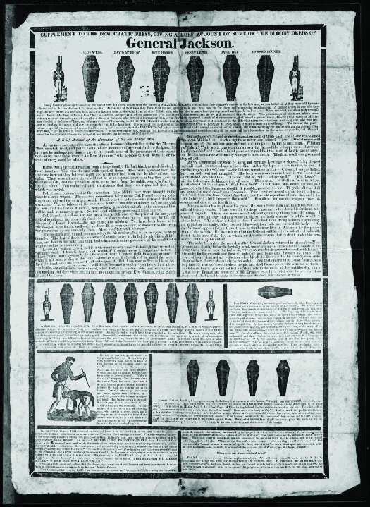 "An image of a handbill from the 1828 presidential election. The top reads ""General Jackson"" underneath which are several coffins."