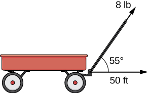 "This figure is an image of a wagon with a handle. The handle is represented with a vector labeled ""8 lb."" There is another vector in the horizontal direction from the wagon labeled ""50 ft."" The angle between these vectors is 55 degrees."