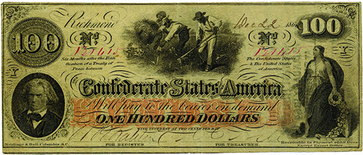 An image of a Confederate one hundred dollar bill is shown. In the lower left-hand corner is a portrait of Jefferson Davis; in the lower right-hand corner, a classically styled woman in a gown holds a garland. At the top of the bill, several Black men toil in a field.