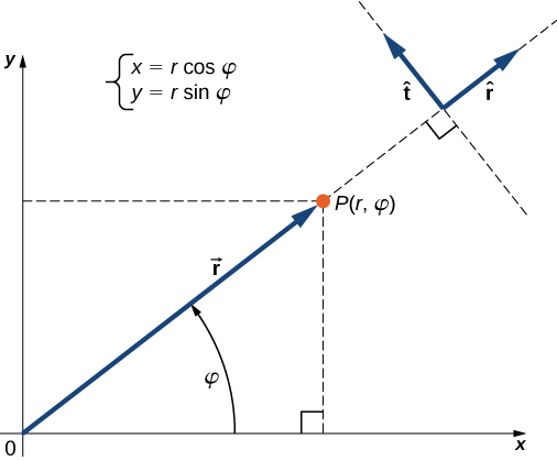 Vector r points from the origin of the x y coordinate system to point P. The angle between the vector r and the positive x direction is phi. X equals r cosine phi and y equals r sine phi. Extending a line in the direction of r vector past point P, a unit vector r hat is drawn in the same direction as r. A unit vector t hat is perpendicular to r hat, pointing 90 degrees counterclockwise to r hat.
