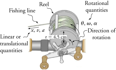 The figure shows an illustration of a fishing reel. The fishing line has an arrow pointing away from the reel with a Linear or translational qualities label pointing to x, v, and a. The radius of the reel to where the string is labeled r=4.5. The Direction of rotation is labeled with an arrow pointing counterclockwise and a Rotational qualities label pointing to theta, omega, and alpha.