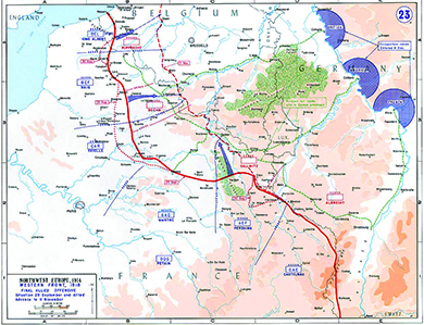 A map shows the western front at the end of the war, as the Allied Forces decisively break the German line.