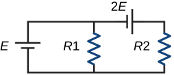 A circuit a battery marked E on the left, a resistor marked R1 in the middle, and a resistor marked R2 on the right. There is nothing on the bottom, and on the top, there is a battery marked 2E between the two resistors.