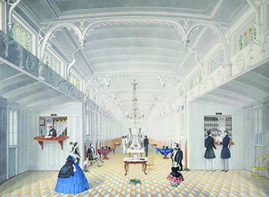 An illustration depicts a large, luxurious room on the interior of a steamship. The ceilings are adorned with ornate molding and a chandelier, and the floor is covered with colorful carpet. Several well-dressed men, as well as a woman and a child, stroll about. Two men procure drinks from a bartender, and a formal dining table staffed by servants is visible in the distance.
