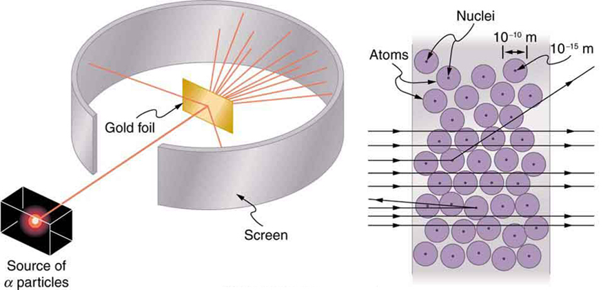 Image of Rutherford's experiment depicting a cuboid shaped lead block having a radioactive sample in red colored circle, emitting a beam of alpha rays. The beam strikes a rectangular gold foil which lies inside a circular strip acting as a detecting screen. Two rays are reflected from the foil while the rest pass through the foil and hit the strip. The other part of the image shows magnified structure of gold foil with gold atoms with their nuclei. Diameter of gold atom is given as 10^{-10}m and the diameter of the nucleus of the atom is 10^{-15}m. Alpha rays in the form of arrows are shown passing horizontally through the atoms; some are shown deflected as they collide with the nuclei while the rest simply pass through.