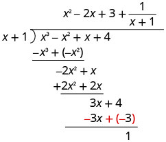 The sum of 3 x plus 4 and negative 3 x plus negative 3 is 1. Therefore, the polynomial x cubed minus x squared plus x plus 4, divided by the binomial x plus 1, equals x squared minus 2 x plus the fraction 1 over x plus 1.