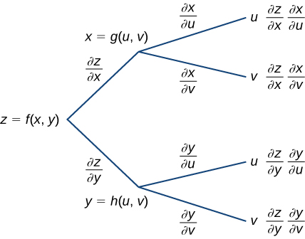A diagram that starts with z = f(x, y). Along the first branch, it is written ∂z/∂x, then x = g(u, v), at which point it breaks into another two branches: the first subbranch says ∂x/∂u, then u, and finally it says ∂z/∂x ∂x/∂u; the second subbranch says ∂x/∂v, then v, and finally it says ∂z/∂x ∂x/∂v. Along the other branch, it is written ∂z/∂y, then y = h(u, v), at which point it breaks into another two branches: the first subbranch says ∂y/∂u, then u, and finally it says ∂z/∂y ∂y/∂u; the second subbranch says ∂y/∂v, then v, and finally it says ∂z/∂y ∂y/∂v.