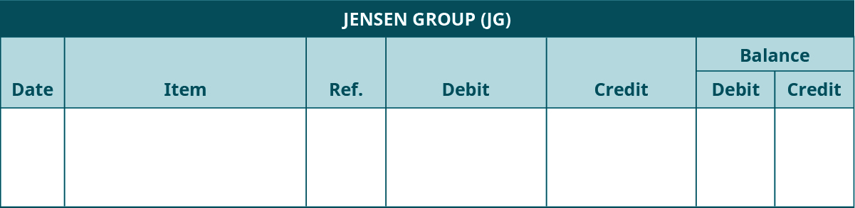 Accounts Receivable Subsidiary Ledger template. Jensen Group (JG). Seven columns, labeled left to right: Date, Item, Reference, Debit, Credit. The last two columns are headed Balance: Debit, Credit..