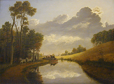 A painting presents a bucolic, romantic depiction of the Erie Canal and its environs. A single vessel is present on the water, and a man conducts several horses alongside the canal. A city is barely visible in the background.