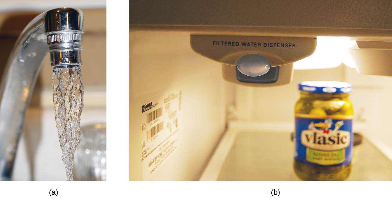 "Two pictures are shown labeled a and b. Picture a is a close-up shot of water coming out of a faucet. Picture b shows a machine with the words, ""Filtered Water Dispenser."" This machine appears to be inside a refrigerator."