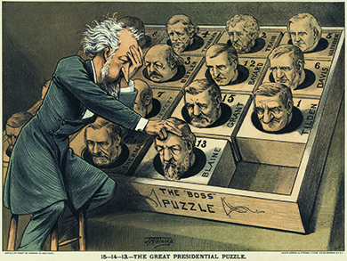 "A cartoon shows Roscoe Conkling playing a popular puzzle game of the day with the heads of potential Republican presidential candidates. The caption reads ""The Great Presidential Puzzle."""