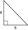 The figure is a right triangle with sides that are both 6 units.
