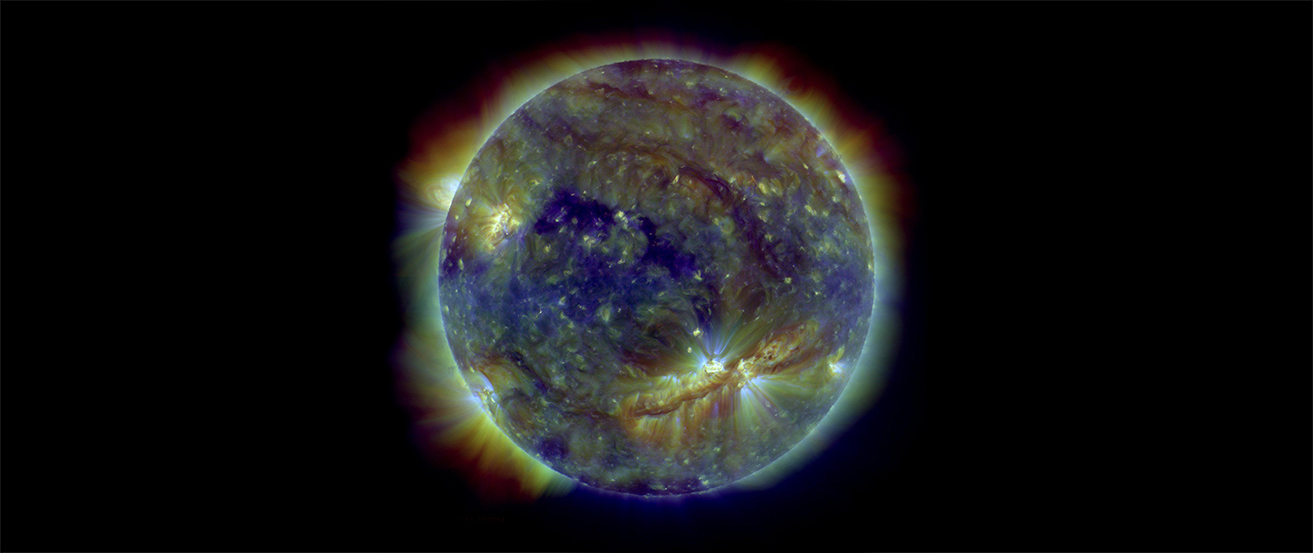 An image of the sun in ultraviolet light.