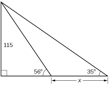 A right triangle with side of 115 and angle of 35 degrees. Within right triangle there is another right triangle with angle of 56 degrees. Side length difference between two triangles is x.