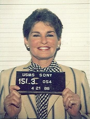 In figure (c), the mug shot of Leona Helmsley is shown.