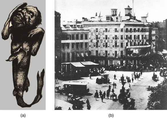 Illustration (a) depicts a creature with the head and upper torso of a young monkey and the bottom half of a fish. Photograph (b) shows crowds of people surrounding P. T. Barnum's American Museum in New York City.