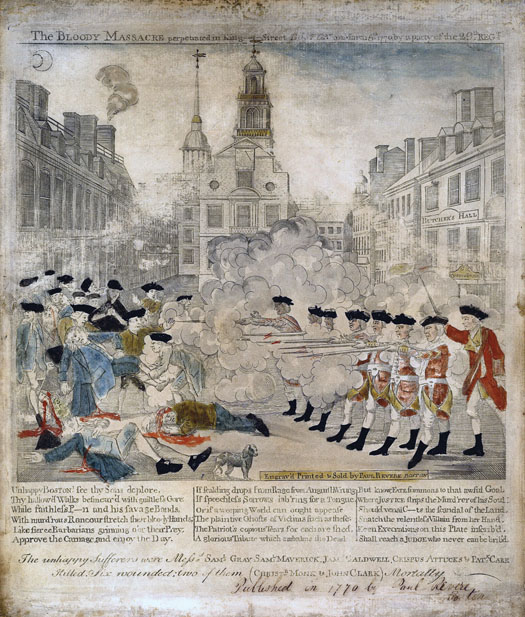 This newspaper page shows a drawing of a scene from the Boston Massacre.