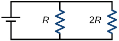 A circuit is shown that has nothing on the top or bottom, a battery to the left, and 2R resistor on the right. Additionally, there is an R resistor connecting the top and bottom of the circuit between the left and right sides of the circuit.