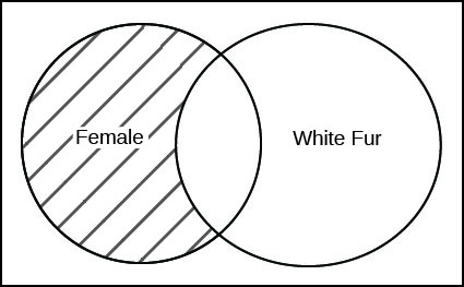 This is a Venn diagram, two overlapping circles inside a rectangle. The left circle is labeled Female. The right circle is labeled White Fur. The section of the left Female circle that lies outside the White Fur circle is shaded.